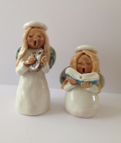 Two,Angels,Abbey Crafts porcelain angels hand made and hand painted