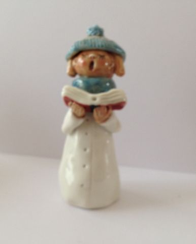 Carol,Singer,Girl,Tall,Blue,Hat,and,Scarf,approx,4.5,inches,tall,Porcelain hand made hand painted figure
