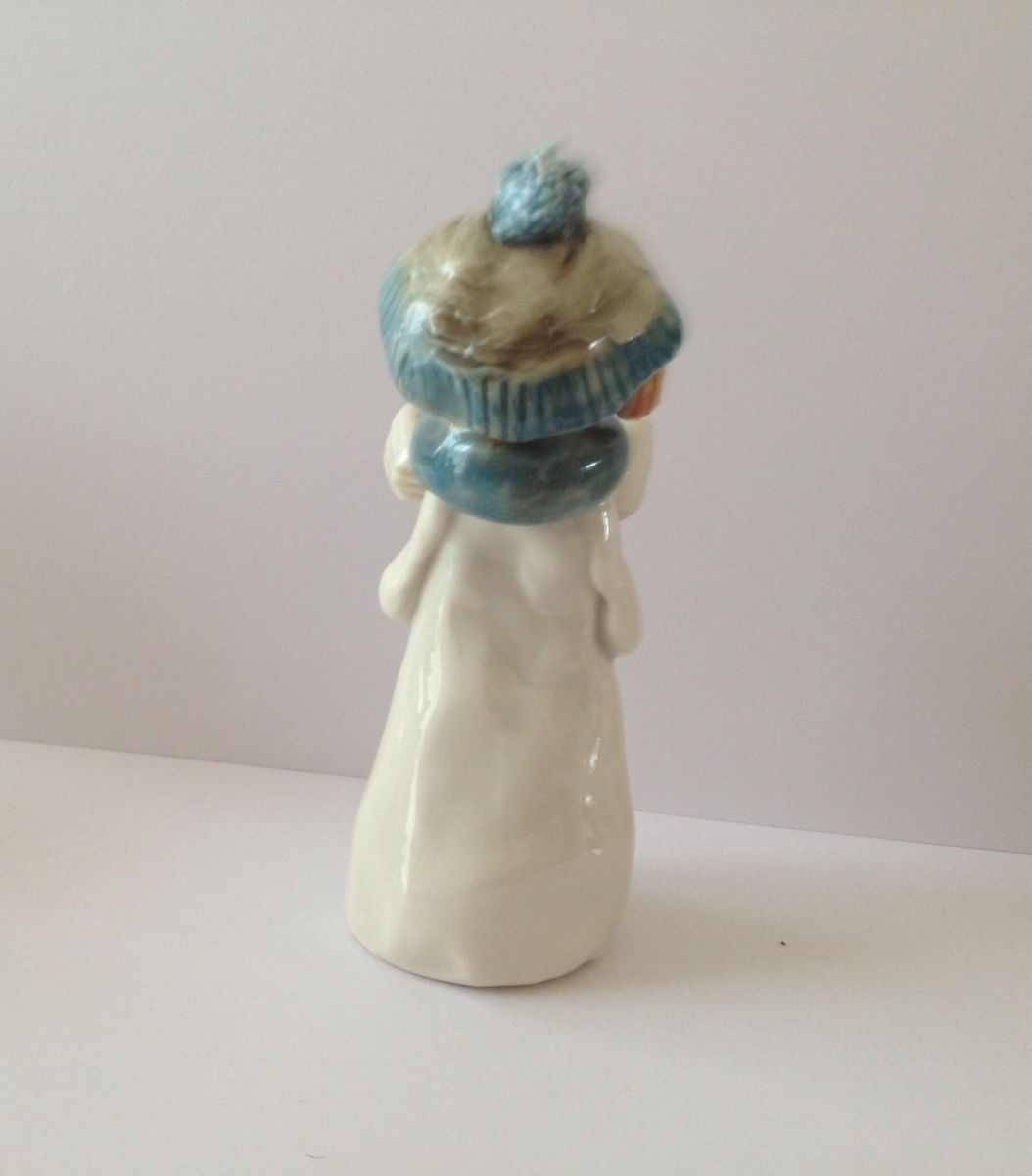 Carol Singer Girl Tall Blue Hat and Scarf approx 4.5 inches tall - product images  of