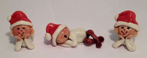 Santa's,baby,elves,set,of,two,watching,and,one,sleeping,Santa's Baby elves Abbey Crafts
