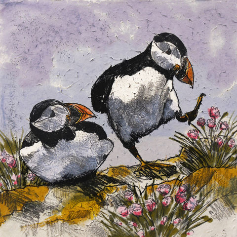 Seabird,,Dancing,Puffins,mini,prints,Puffins Seabirds mini prints