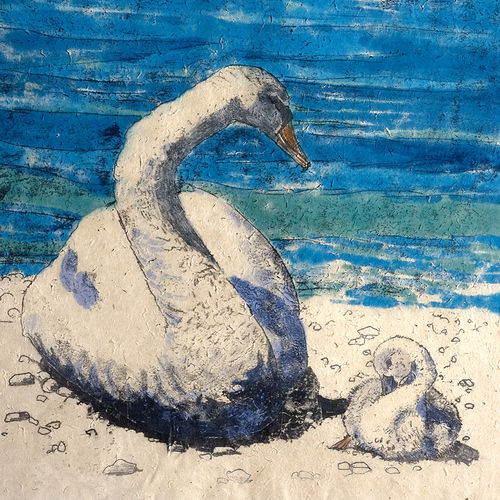 Swan and Cygnet mini print - product images