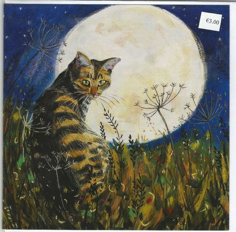 The,Cat,and,the,Moon,card,Cat Moon monoprint Annabel Langrish