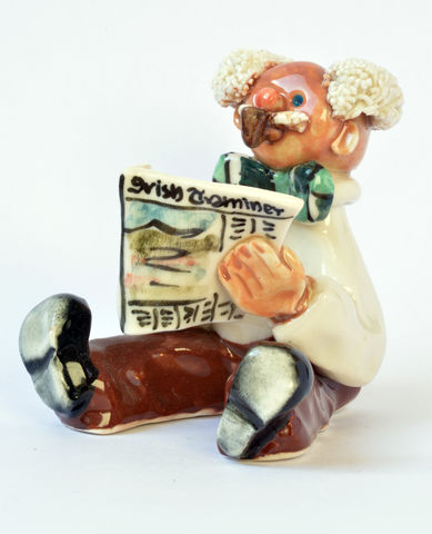 Abbey,Crafts,Little,Man-with-newspaper,-,Abbeycrafts,Abbeycrafts little-man, reading newspaper, porcelain