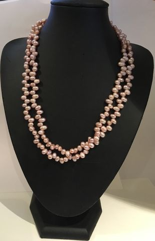 Fresh-water-pink-pearl-double-strand-necklace,Pink fresh water pearl double strand necklace