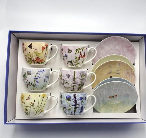 Wildflower,Cappuccino,6,Cup,and,Saucer,Set,Wildflower Cappuccino Cup and Saucer Set