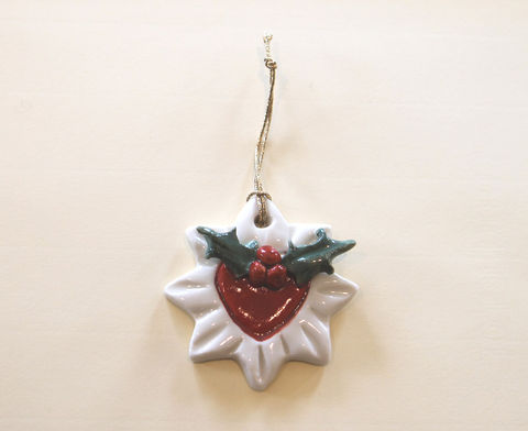 Christmas,Tree,Ornament,-,Holly,Star-,Abbeycrafts,christmas tree ornament, porcelain, holly star