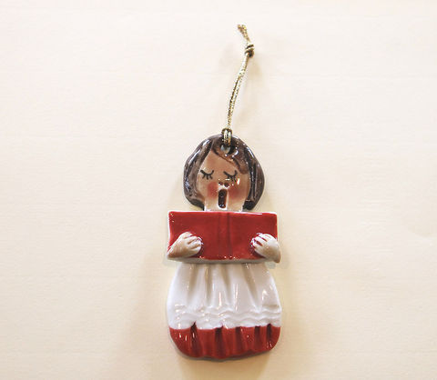 Christmas,Tree,Ornament,-,Choirgirl,Abbeycrafts,christmas tree ornament, porcelain, choirgirl