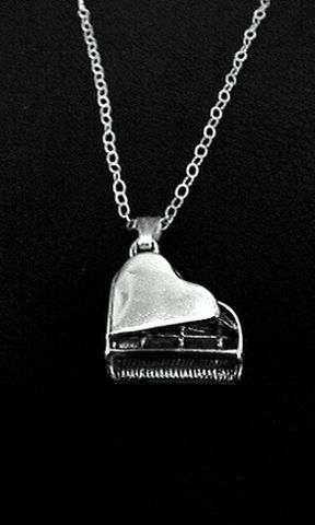 Piano,Necklace,piano, necklace, sterling silver, keyboard, jewelry