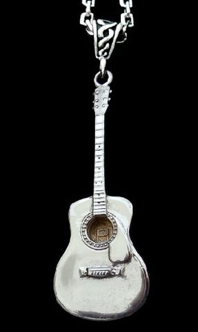 Guitar,Necklace,,Mens,chain-Acoustic,Large Guitar necklace, mens Guitar jewelry, Sterling silver guitar, designer guitar