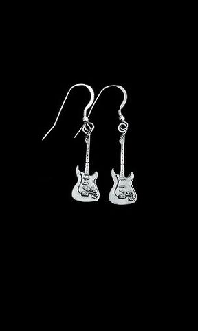 Guitar,Earrings-sterling,electric,guitar,sterling silver, guitar earrings, jeffrey david, detailed  designer guitar jewelry