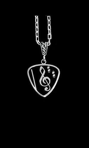 Guitar Pick Necklace-Black Clef - product image