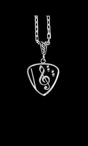 Guitar,Pick,Necklace-Black,Clef,guitar pick necklace, Sterling Silver guitar pick, guitar jewelry for men
