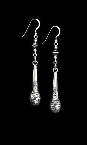 Microphone,Earrings,Sterling,58,microphone earrings, sterling silver, microphone jewelry