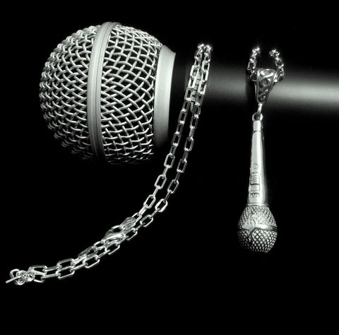 Microphone,Necklace-Men's,Large,mic,mens microphone necklace, microphone jewelry for men, sterling silver microphone