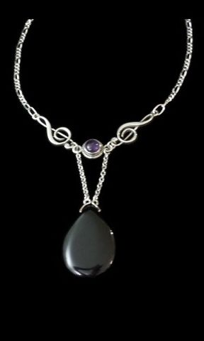 Amethyst,Onyx,Music,Clef,Necklace,clef, music