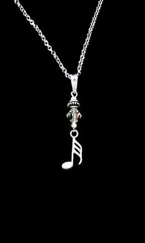 Music,Note,Necklace-32nd,music, note, necklace, jewelry, ladies, sterling, silver