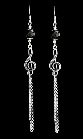 Long,Chain,Music,Earrings,long chain music earrings, Long chain earrings, Sterling Silver music themed earrings
