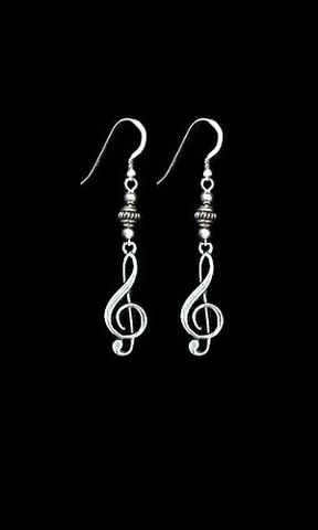Ornate,Clef,Music,Earrings,clef earrings, sterling silver, music note earrings