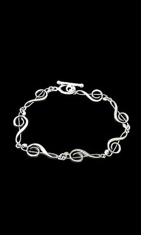 Endless,Clef,Music,Bracelet,Sterling Silver music bracelet, Clef bracelet