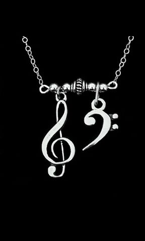 Double,Clef,Music,Necklace,2 clef necklace, doulble clef music necklace