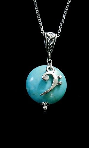 Bass Clef Necklace-Turquoise Howlite - product image