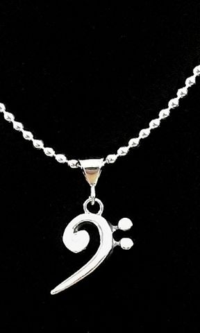 Bass,Clef,Necklace-Mens,bass clef necklace, large Sterling Silver bass clef