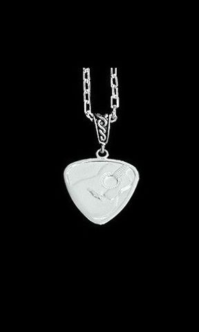 Guitar,Pick,Necklace,Mens,Chain-Acoustic,guitar pick necklace, Sterling Silver acoustic guitar pick, guitar jewelry for men