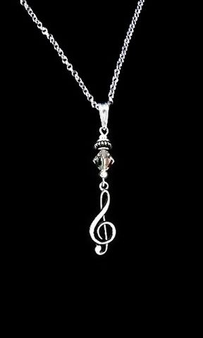 Crystal,Clef,Necklace,Elegant, Music Clef Necklace