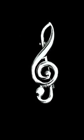 Treble,Clef,Music,Pin,music clef pin, sterling silver music brooch