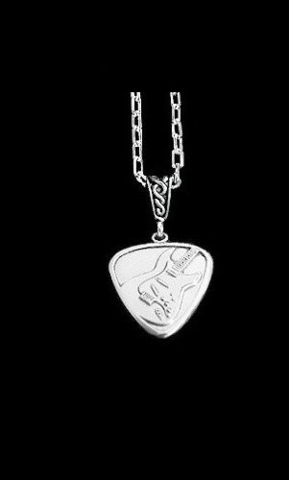 Guitar,Pick,Necklace-Electric,sterling guitar pick, silver guitar pick necklace