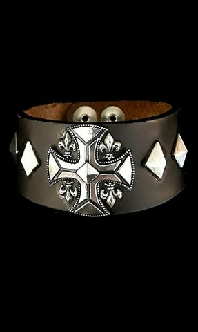 Leather,Cuff,Wristband,Bracelet-Cross,Heavy metal jewelry for men, leather cuff wristband, hard rock jewelry, sterling silver
