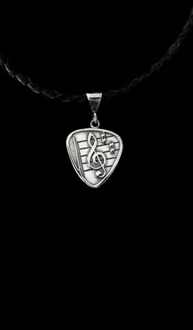 Guitar,Pick-Clef,sterling guitar pick, silver guitar pick necklace