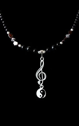 Balance-Garnet,Music,necklace,Ying Yang necklace, Sterling Silver, ying yang jewelry, Balance music necklace