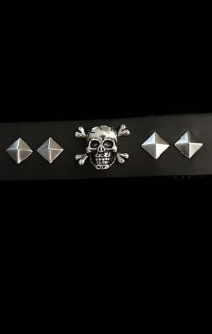 Leather,Cuff,Wristband,Bracelet-Skull