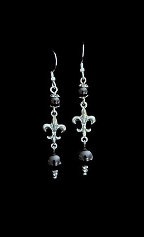 Fleur,de,lis,Onyx,Drops,Fleurdelis earrings, fleurdelis dangle onyx earrings