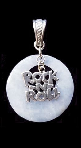 Rock,N,Roll,Stone,Pendant,Rock N Roll Necklace, rock and roll necklace