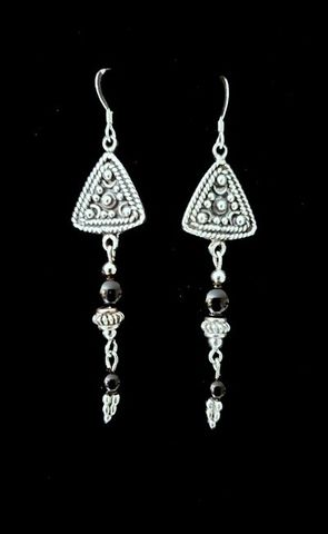 Pyramid,Onyx,Earrings,Onyx Earrings, long black earrings
