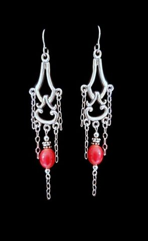 Chandelier,Earrings-Coral,Sterling Silver Chandelier Earrings-Coral