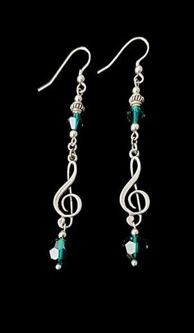 Long,Elegant,Music,Earrings-Green,emerald green music earrings, long music earrings, elegant