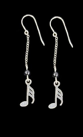 Music,Note,Chain,Earrings,long music earrings, long music themed earrings
