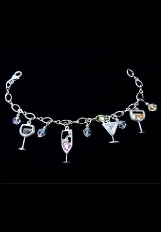 Cocktail,Drink,Charm,Bracelet,Cocktail jewelry, cocktail drink charms