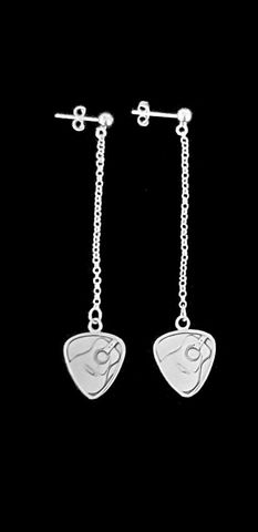 Sterling,Guitar,Pick,Earrings,guitar, earrings, guitar pick, silver