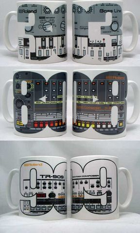 Mug,featuring,Roland,TB303,,TR808,or,TR909,roland, tr909, tb303, tr808, bassline, synthesiser, sequencer, acid house, rhythm composer