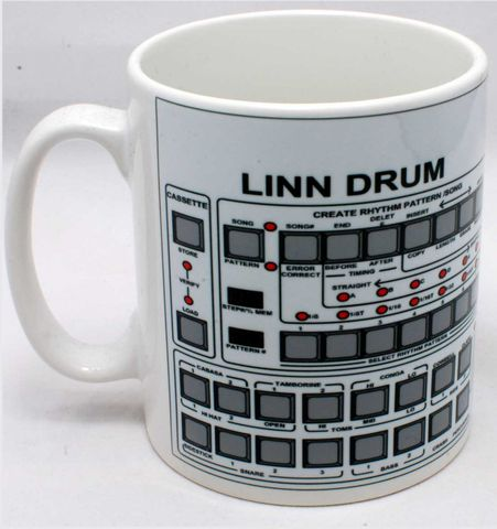 Linndrum,Mug,linndrum, roland, tr909, tb303, tr808, bassline, synthesiser, sequencer, acid house, rhythm composer