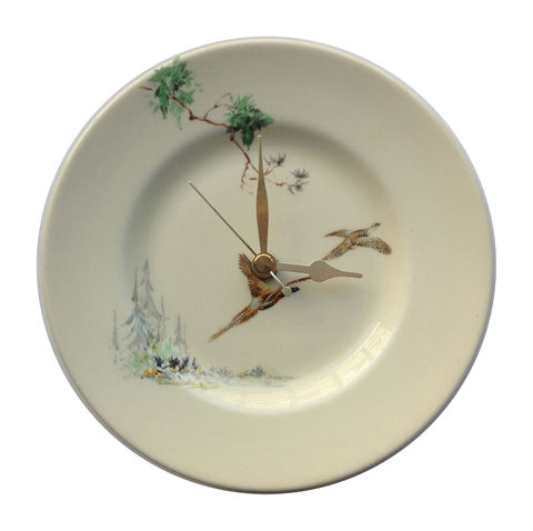 Small,Pheasant,Coppice,Vintage,Plate,Wall,Clock,Small pheasant vintage orginal wall clock plates