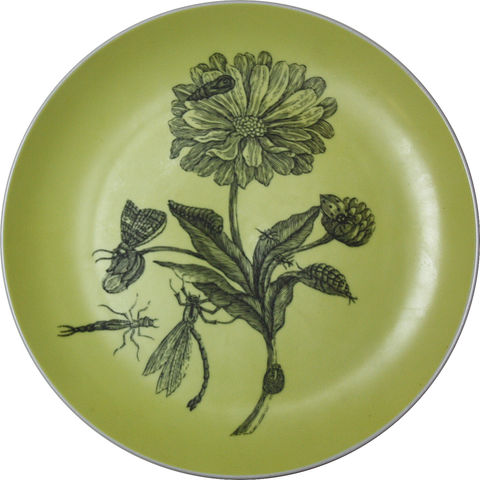 Large,Yellow,Dahlia,Decorative,Upcycled,Plate,Botanical Cake Plate Maria Sibylla Merian