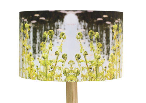 Green Fern Handmade Drum Lamp Shade - product images  of