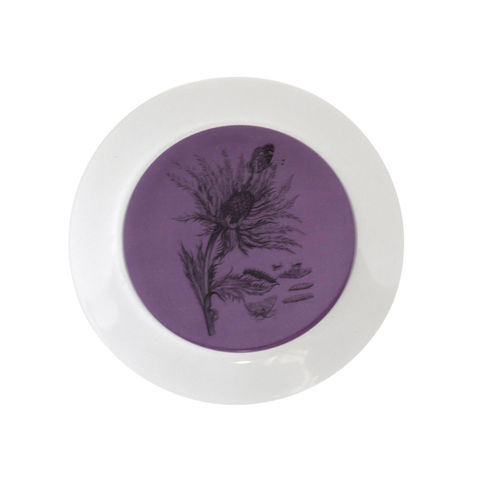 Small,Purple,Thistle,Botanical,Decorative,Upcycled,Plate,Botanical Cake Plate Maria Sibylla Merian