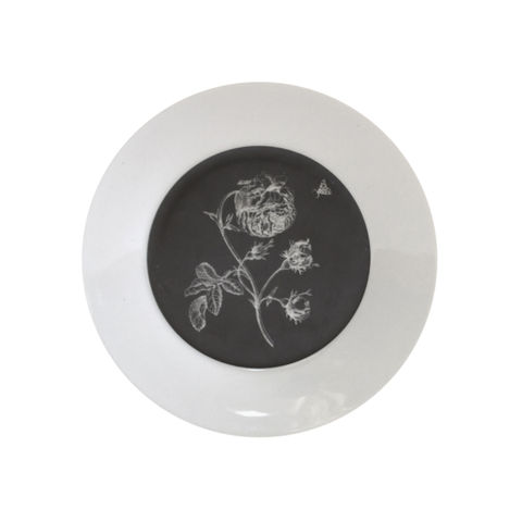 Small,Black,Rosa,Botanical,Upcycled,Decorative,Plate,Botanical Cake Plate Maria Sibylla Merian